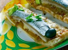 Mini cocas de sardinas Stock Photos