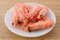 Cuisine and Food, Cooked Prawns or Tiger Shrimps in White Plate. Kuvituskuvat