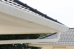 Stock Photo of gutter on the roof top of house