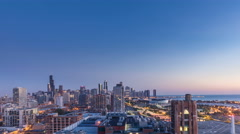 Chicago Downtown sunrise, time lapse - stock footage