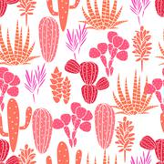 Succulents plant vector seamless pattern. Botanical pink and rose cactus flora - stock illustration