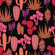 Succulents plant vector seamless pattern. Botanical black and pink rose cactus - stock illustration