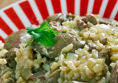 risotto with chicken liver - stock photo