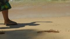 Walking on the Sand Beach Stock Footage