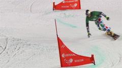 Crazy Snowboard Slalom. Slow motion. Stock Footage