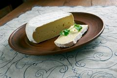 Round Brie cheese Stock Photos