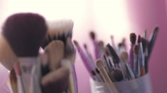 Cosmetic brushes close up. Wedding preparation Stock Footage