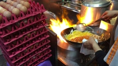 Preparing Pad Thai at Thip Samai in Bangkok Thailand Stock Footage
