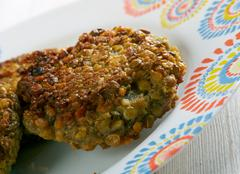 Lentil , Vegetable Fritters - stock photo