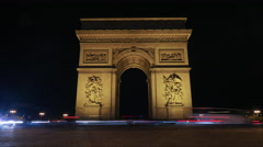 Timelapse of traffic near Triumphal Arch at night Stock Footage