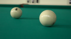 Hitting the cue ball comes as a result of rotation Stock Footage