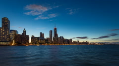 Chicago skyline sunset with dynamic clouds Stock Footage