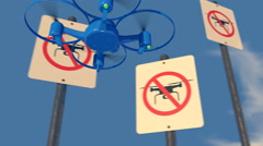 "UAV drone reacting to a ""no Drone Zone"" graphic sign, 3D animation Stock Footage"