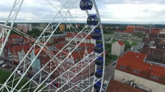 Observation wheel in Gdansk // AERIAL FOOTAGE// Stock Footage