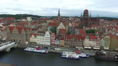 GDANSK, OLD TOWN CENTRE // AERIAL FOOFTAGE// 02 Stock Footage