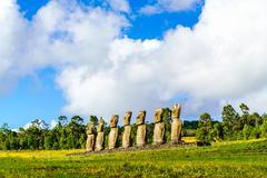 Moai at Ahu Akivi Stock Photos