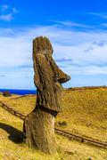 Moai at the Rano Raraku Quarry - stock photo