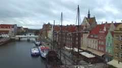 Old historic sailing ship Motlawa River in Gdansk //AERIAL FOOTAGE// Stock Footage