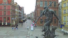 Neptune's Fountain in Gdańsk //AERIAL FOOTAGE// 02 - stock footage