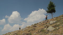 Little boys hiking in mountains 2 - stock footage