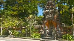Ornately carved entrance gate to Tirata Empul Hindu Temple Stock Footage