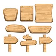 A set of wooden boards, panels and signs - stock illustration