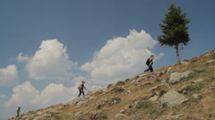 Little boys hiking in mountains 1 - stock footage