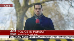 Stock Video Footage of 4K News reporter doing live piece to camera outdoors in city