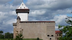 Medieval castle background of dramatic sky Stock Footage