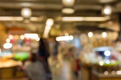 Food in restaurant, blur background defocused image Stock Photos