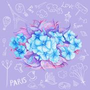 Romantic Paris Mood Card - stock illustration