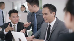 4K Asian corporate business group in discussion in business meeting - stock footage