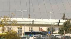 Harp Bridge and Tram - stock footage