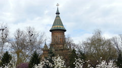 Spring day on shore Bega river, Timisoara, Romania Stock Footage