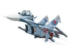 Cartoon Military Airplane Stock Illustration