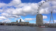 The river Thames including the millenium wheel - stock footage