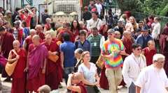 Tibetan monks and people from the lessons Dalai Lama, Dharamsala. India - stock footage