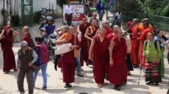 Tibetan monks and people from the lessons Dalai Lama, Dharamsala. India Stock Footage