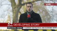 4K News reporter doing live piece to camera outdoors in city Stock Footage