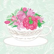 Creative Illustration with Teacup Full of Flowers - stock illustration