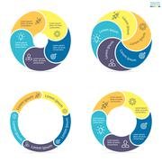 Stock Illustration of Circular infographics with rounded colored sections.