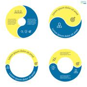 Circular infographics with rounded colored sections. - stock illustration