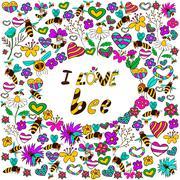 Background i love bee Stock Illustration