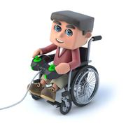 3d render of a boy in a wheelchair playing a video game - stock illustration