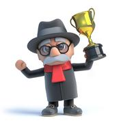Stock Illustration of 3d render of an old man holding a gold cup trophy with pride.