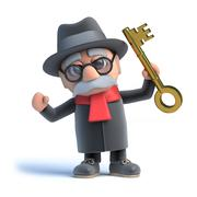 3d render of an old man holding up a gold key. Stock Illustration