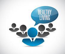 healthy living teamwork sign concept - stock illustration