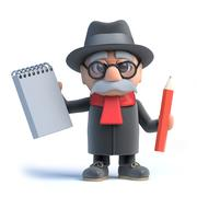 Stock Illustration of 3d render of an old man holding a notebook and pencil