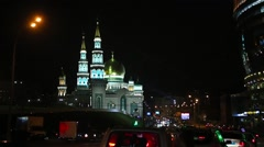 Night. Moscow Cathedral Mosque Madrasa Stock Footage