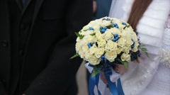 brides bouquet on hands - stock footage